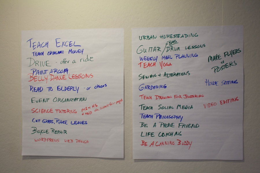 Brainstorming service offerings with the Cville TimeBank.